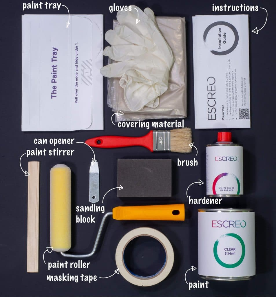 Clear Whiteboard Paint - what's in the box