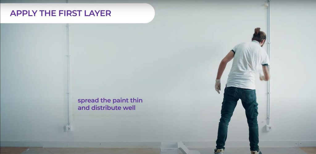 Apply the first layer of whiteboard paint