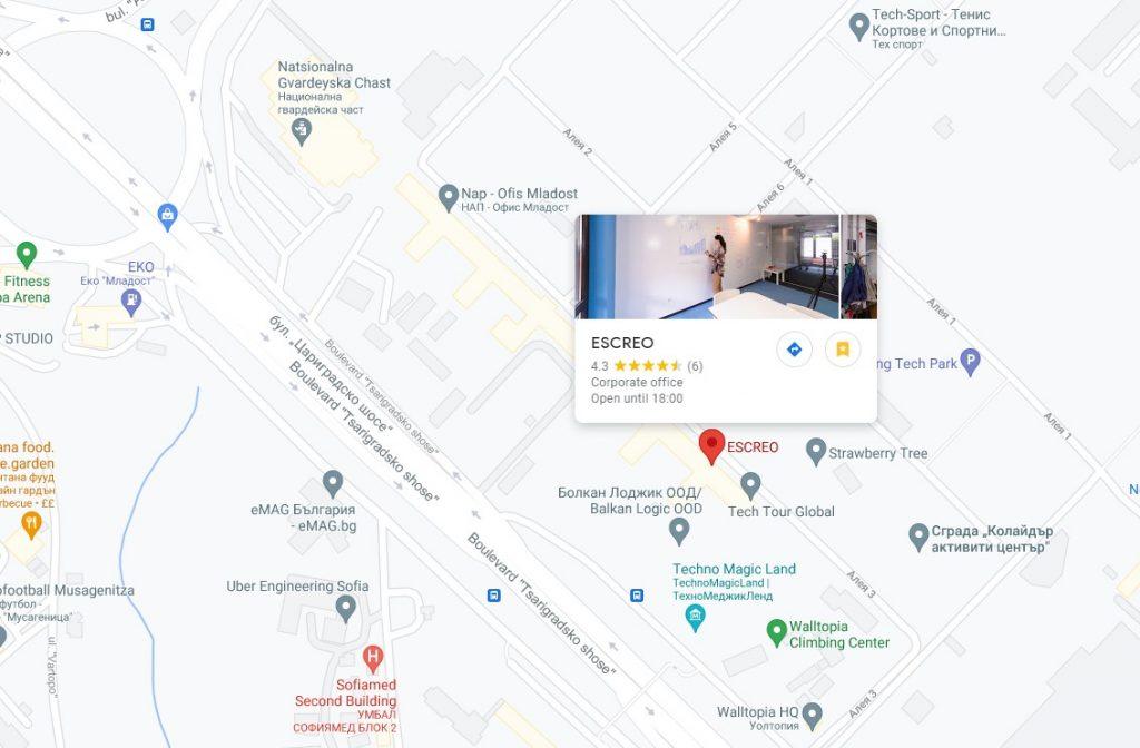 Escreo Sofia Screenshot Googl Maps 1024x672