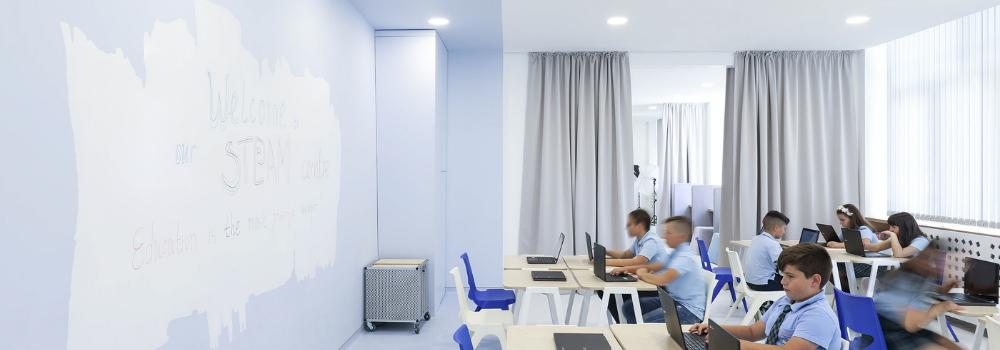 Класна стая със стени за писане ESCREO