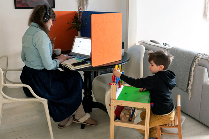 Flip home office with kid